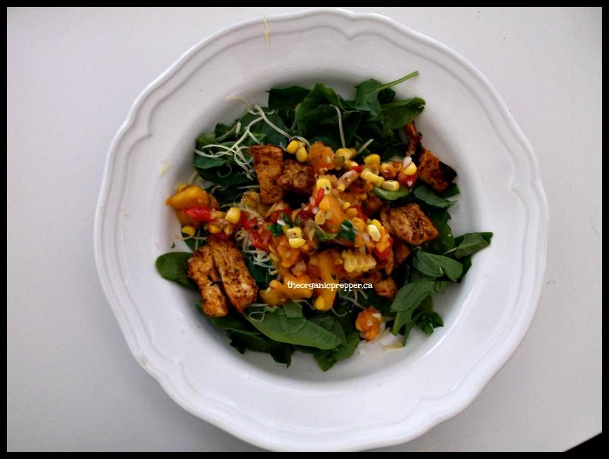 Salad with hodgepodge salsa