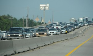 Beaumont, TX August 30, 2008--Hundreds of vehicles line the interstate outside of Beaumont, Tx. Mandatory evacuation orders were made in east Texas near the Gulf Coast in advance of Hurricane Gustav's landfall.in San Antonio. FEMA is working with State,local and other Federal agencies in a joint operation in preparation for Hurricane Gustav's land fall. Photo by Patsy Lynch/FEM