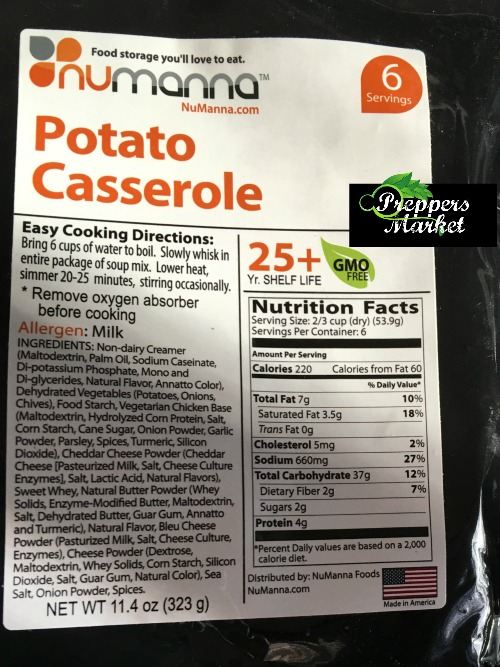 NuManna Emergency Food potato casserole