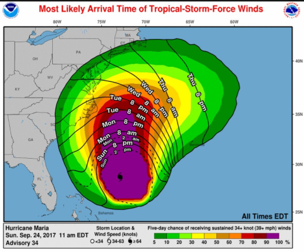 The Third Hurricane in a Month: Last Minute Warnings Issued for North Carolina and the East Coast | nws-map | Environment Special Interests US News